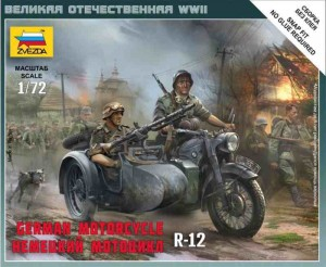 WWII German Motorcycle R12 with sidecar, Zvezda 6142
